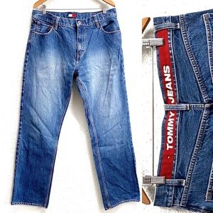 Vintage Tommy Hilfiger Spell Out Loose Jeans 34x34
